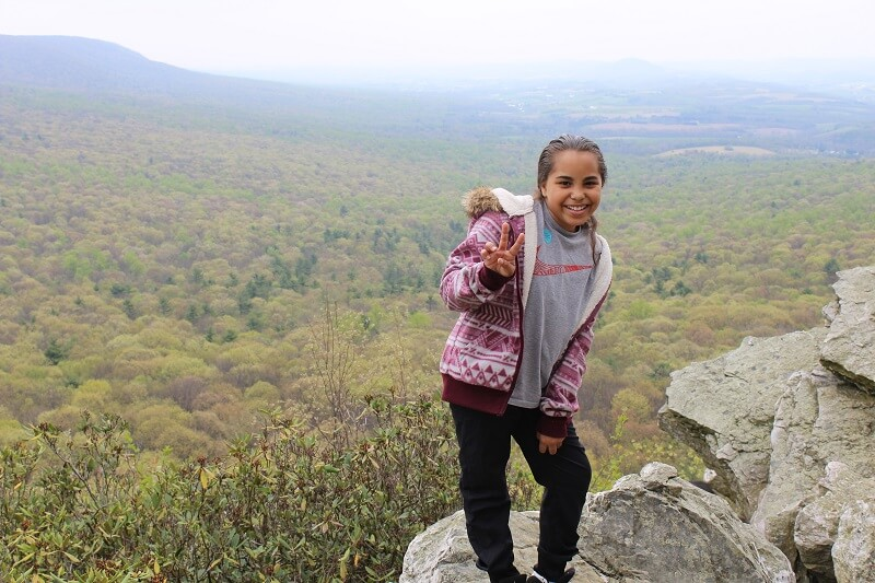 Girls Leadership Program of Reading Recreation Commission on a hike to Hawk Mountain